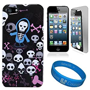 Swag Skulls Design SumacLife 2 Piece Snap On Faceplate Protective Crystal Hard Case Cover for Apple iPhone 5 NEWEST MODEL + iPhone 5 Clear Screen Protector + SumacLife TM Wisdom Courage Wristband