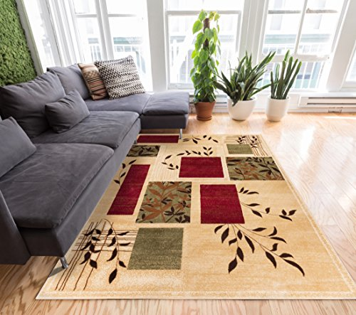 """Great Forest Ivory Floral Nature Modern Formal Area Rug 3x5 4x6 ( 3'11"""" x 5'3"""" ) Easy to Clean Stain / Fade Resistant Shed Free Traditional Transitional Soft Living Dining Room Rug"""