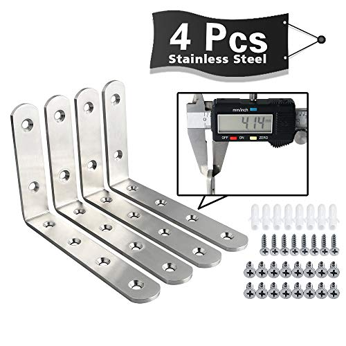 "Alise 4mm-Thick Stainless Steel Shelf Brackets Floating Shelves Heavy Duty""L"" Brackets Corner Brace Support Wall Hanging 6X4 Inch,Brushed Nickel 4Pcs"