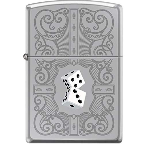 Zippo Dazzling Dice in White Engraved Scrolling Lighter