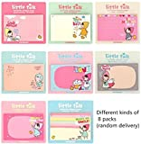 HuanX35 Cute Little Talk Girls Sticky Note Collection Memo Pads Point It Notes Lovely cartoon memo note(8 pack,30 sheets per pack, Random Delivery )