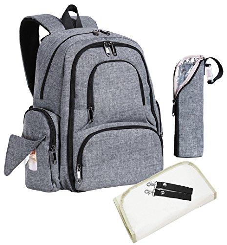 Sleeping Lamb Baby Diaper Bag Backpack with 16 Pockets, Large, Grey