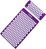 HemingWeigh Complete Acupressure Mat and Pillow Set with Bonus Carry Bag (Purple)