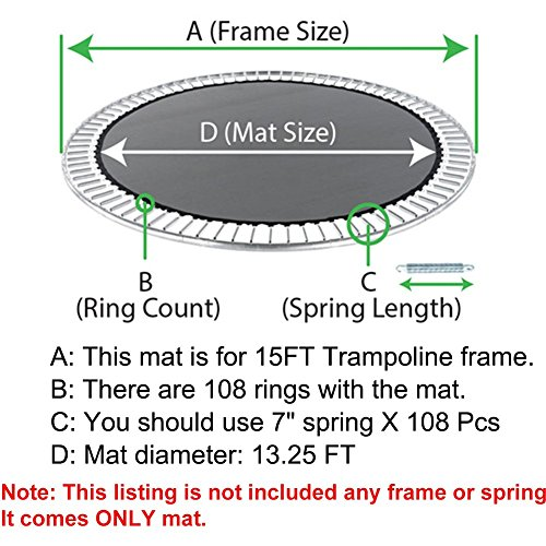 Zupapa Jumping Mat Replacement For 15 Ft Round Trampoline