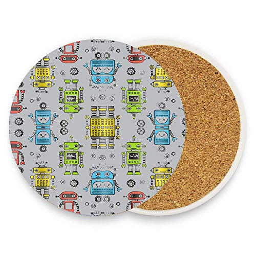 - HappyToiletLidCoverX Liner Robots On Gray Coaster for Drinks,Wallpaper Ceramic Round Cork Table Cup Mat Coaster Pack Of 1