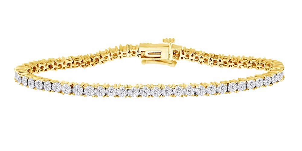 Two Tone Tennis Bracelet In 14k Yellow Gold Over Sterling Silver 0.25 CT Round White Natural Diamond 7.5''