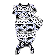 Baby Tie Bottom Nightgown and Matching Hat, Sleep Gown (Aztec Blue, 0-3 Month)