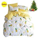 Soft 100% Cotton Bedding Sets 3 Piece Luxury Fruit Pineapple Print Kids Duvet Cover Set with Pillowcases Zipper Ties, Best Teen Girls Bedding Gifts Set Children Bed Set, No Comforter(Yellow, Twin)