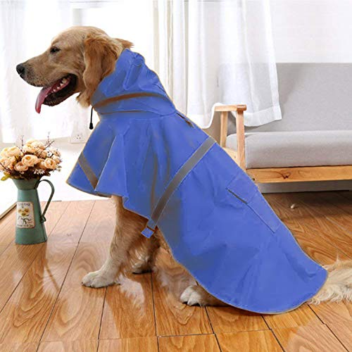 NACOCO Large Dog Raincoat Adjustable Pet Water Proof Clothes Lightweight Rain Jacket Poncho Hoodies with Strip Reflective (XL, Blue)...