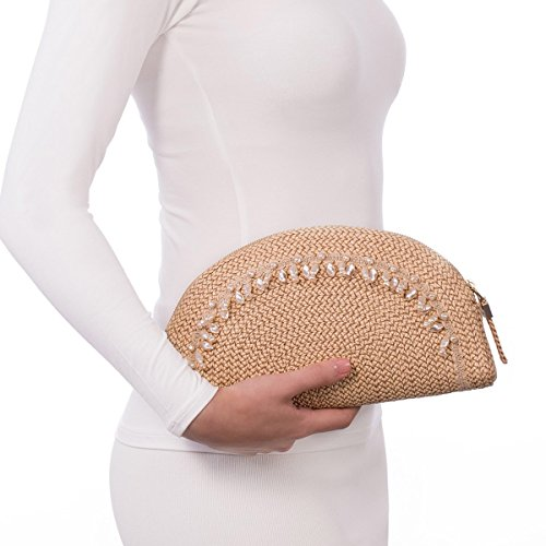 Eric Javits Luxury Fashion Designer Women's Handbag - Pearl Clutch - Peanut by Eric Javits
