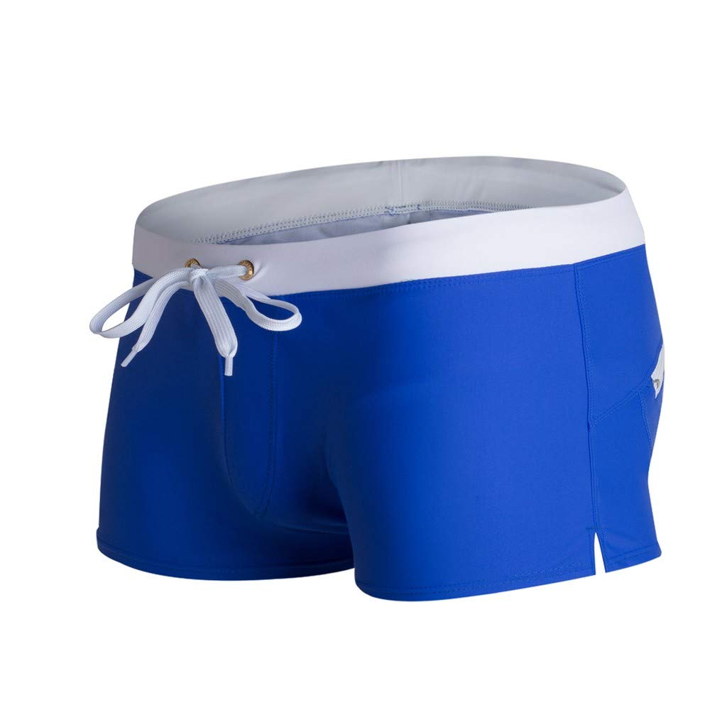 Hunzed Men Clothing Beach Swimming Trunks Boxer Brief Swimsuit Swim Underwear Boardshorts Solid Color