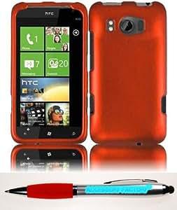 Accessory Factory(TM) Bundle (the item, 2in1 Stylus Point Pen) For HTC Titan II 2 Rubberized Cover Case - Orange