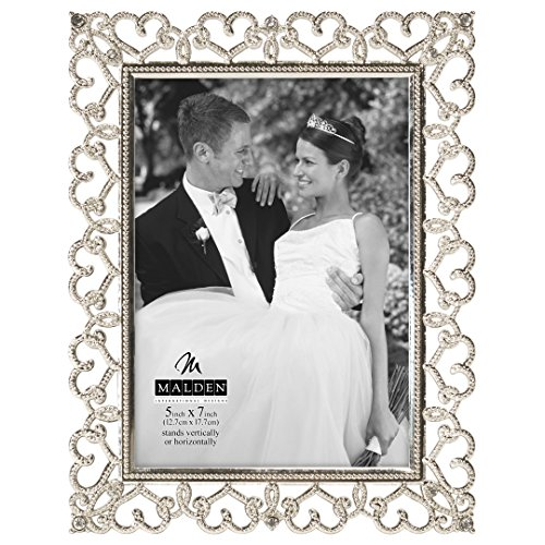 - Malden International Designs Enchanted Hearts Pierced with Jewels Picture Frame, 5x7, Silver
