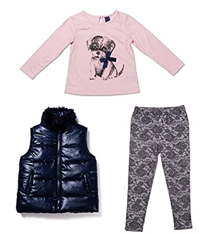 OK! Kids Toddler Girls Three Piece Puppy T-Shirt Leggings and Faux Fur Collar Vest Set 4T - Personalized Free Toddler Tee
