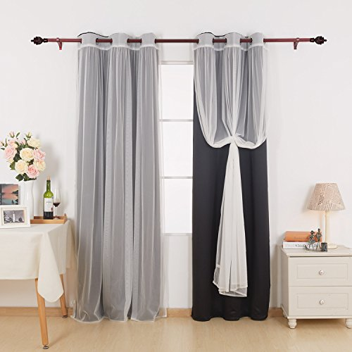 Deconovo Grommet Top Mix and Match Curtain Set 2 Black Thermal Insulated Blackout Curtains with 2 Tulle Lace White Sheer Curtain Panels for Bedroom 4 Panels 42X63 Inch