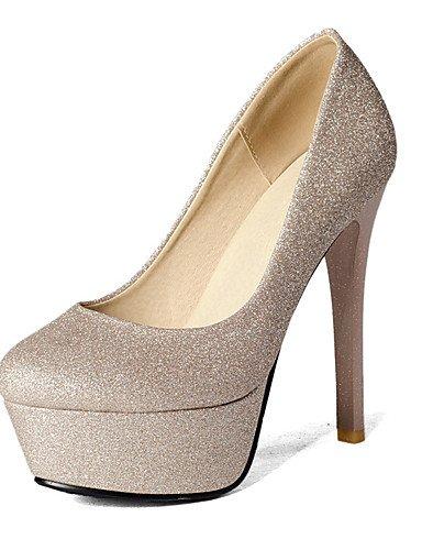GGX/ Damen-High Heels-Büro / Kleid / Lässig-Kunstleder-Stöckelabsatz-Absätze / Plateau / Pumps / Rundeschuh-Schwarz / Silber / Gold black-us9.5-10 / eu41 / uk7.5-8 / cn42