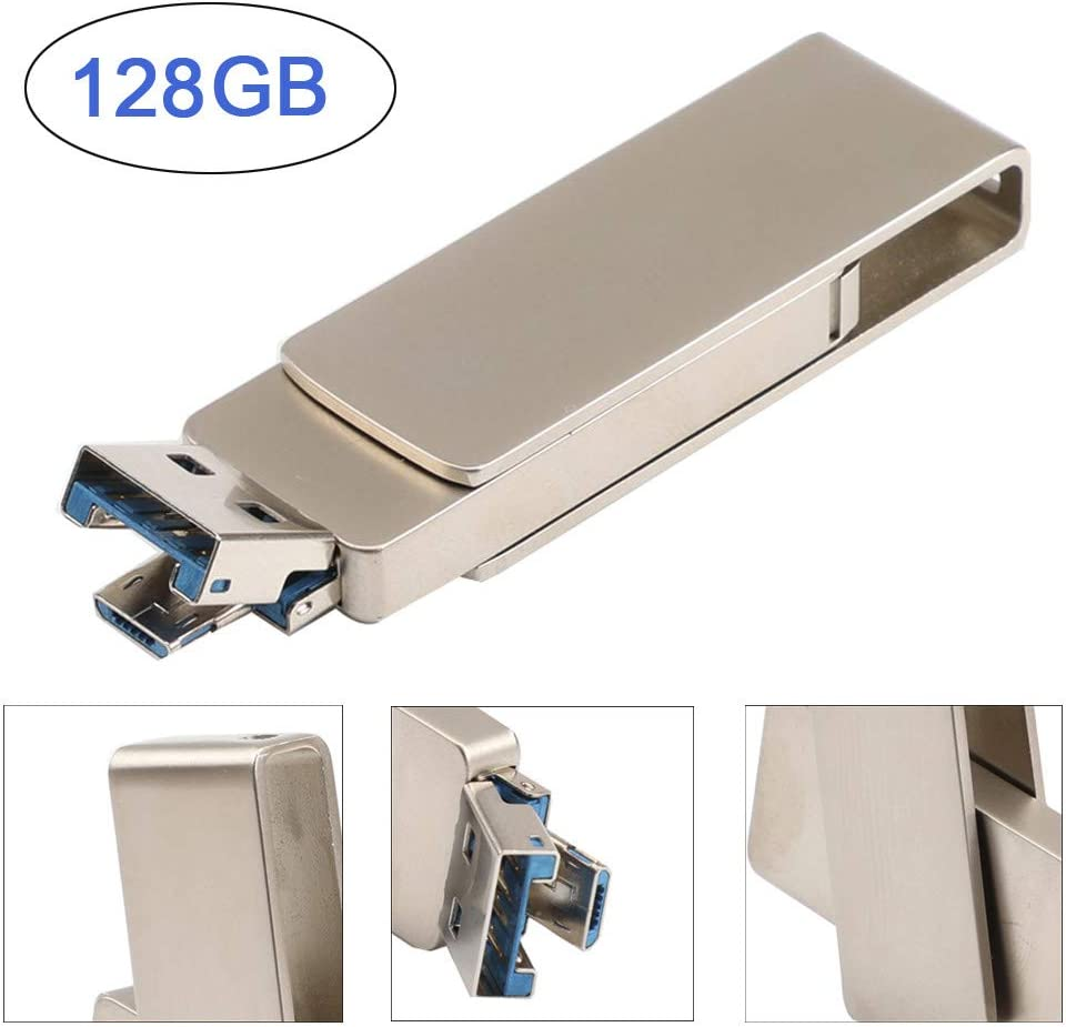 High Speed 80MB//S 128GB Large Capacity USB 3.0 Flash Drive Memory Stick Storage OTG /& USB Dual-use U Disk