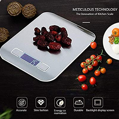 TEEPAO Digital Kitchen Food Scale Ultra Thin Stainless Steel Multifunction Tare Function 1G Precision with Backlit LCD Electric Balance 5KG Or 10KG 11LBS Or 22LBS