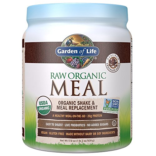Garden of Life Meal Replacement – Organic Raw Plant Based Protein Powder, Chocolate, Vegan, Gluten-Free, 17.9oz (509 g) Powder