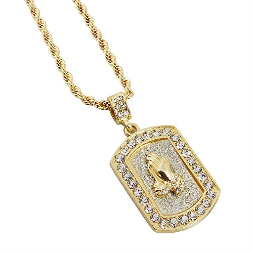 Mens Gold-Tone Hip Hop Bling I Pray Praying Hands Stardust Dog Tag Pendant 3mm 24