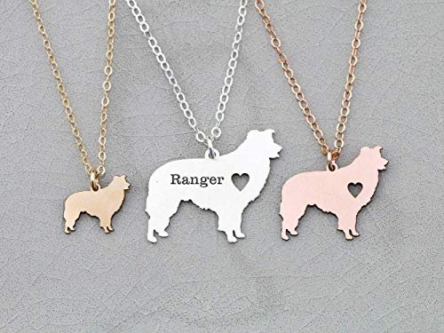 Border Collie Dog Necklace - IBD - Sheepdog - Personalize Name Date - Pendant Size Options - 935 Sterling Silver 14K Rose Gold Filled Charm - Fast 1 Day Production