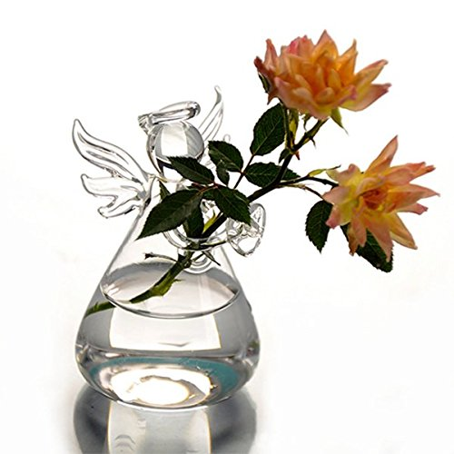 Funnytoday365 Cute Glass Angel Shape Flower Plant Stand Hanging Vase Hydroponic Container Home Office Wedding Decor
