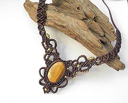 Yak Bone Beads-Boho Jewels-Unisex-Unique Piece-Biomecanic Jewels Red Tiger Eye Labyrinth Chevron Micro Macrame Mala Necklace Inspiration