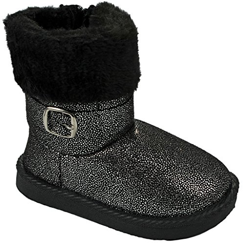 Image of Baby Girls Toddler Slouch Buttons/Sweater Knit Faux Fur Lined Soft Sole Infant Boots