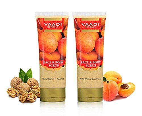 Herbal Exfoliator (Vaadi Herbals Face and Body Scrub with Walnut and Apricot, 110gms x 2)