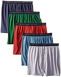 Hanes Men\'s 5-Pack FreshIQ Exposed Waistband Knit Boxers, Assorted, Medium/32-34