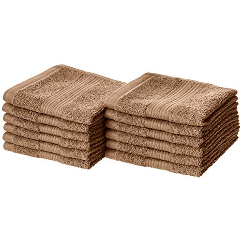 AmazonBasics Fade-Resistant Cotton Washcloths - Pack of 12, Acorn Brown ()