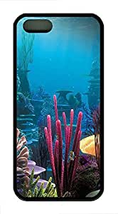 iPhone 5 5s Case, Slim Thin Shockproof Underwater World Render IP5 Case fit for iPhone 5 5s Ultra Protective Back Rubber Cover Impact Protection for iPhone 5 5s (Black)