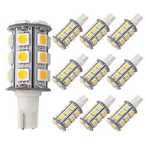 GRV T10 921 194 Wedge 24-5050 SMD LED Bulb lamp Super Bright Warm White AC/DC 12V ~24V Pack of 10 ()