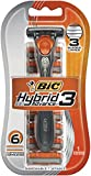 BIC Hybrid Comfort 3 Disposable/System Shaver, Men, 6-Count