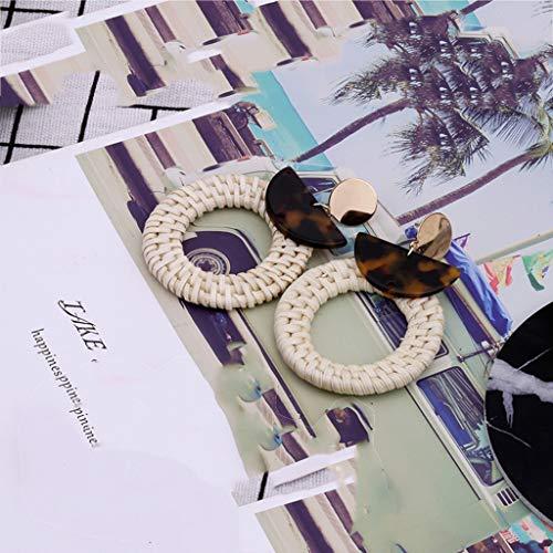 - Peigen Rattan Acetate Board Geometric Circle Earrings for Women Geometry Resin Drop Dangle Earrings Bohemia Tortoise Shell Hoop Earrings Mottled Statement