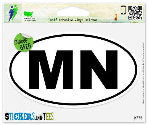 Minnesota MN White State Oval Vinyl Car Bumper Window Sticker 3