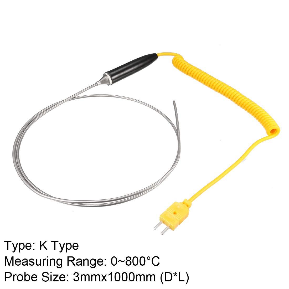 0~800/°C uxcell K Type Temperature Sensor Probe 3mmx100mm Thermocouple 32~1472/°F
