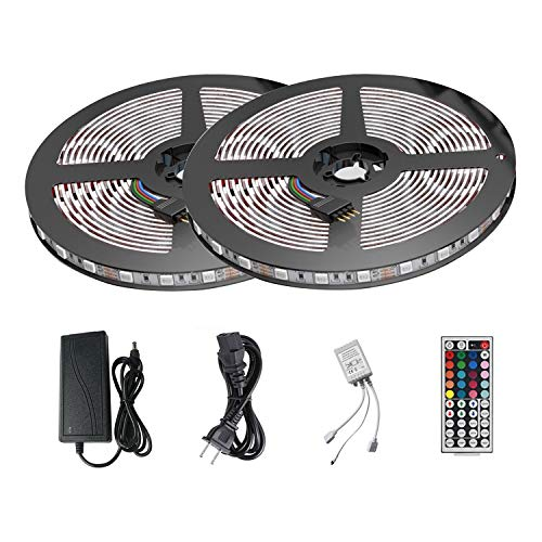 LED Strip Lights Kit ATTUOSUN 32.8ft/10M 300Leds SMD5050 RGB Waterproof LED Rope Light with Sponge Adhesive, 44Key Dual Head Dual Panel IR Remote Controller, DC12V Power Supply for Indoor and Outdoor