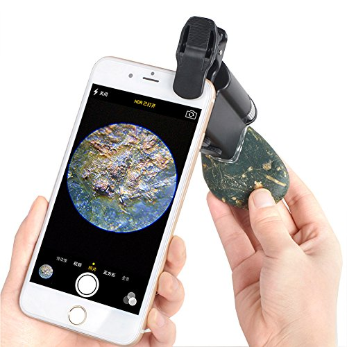 Huluwa Cellphone Magnifier, Universal 60X-100X Zoom Microscope for Mobile Phone, Portable Clip-on Micro Lens for UV Currency Detectting Biology Jewelry Appraisal