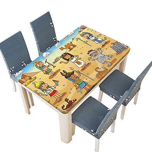 PINAFORE Spring & Summer Outdoor Tablecloth, Illustration of Historical Egyptian Characters with Pyramids Cleopatra King Mummy Child De Multicolor W45 x L84.5 INCH (Elastic Edge) -