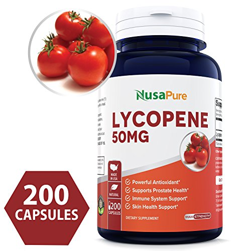 Lycopene 50MG 200 Capsules (Non-GMO & Gluten Free) Antioxidant 100% Natural Tomato Great for Prostate Health, Immune System Support, Heart Health, Eyesight Support - 100% Money Back Guarantee