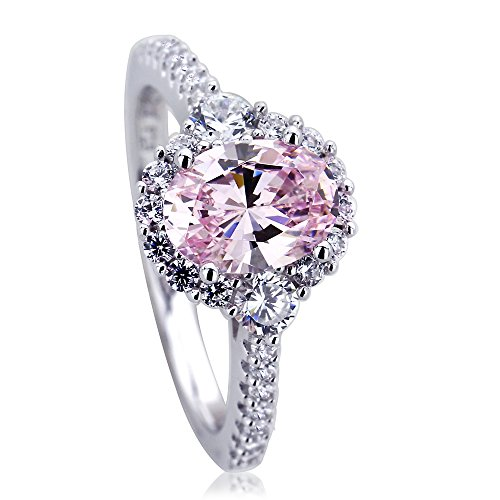 (Double Accent Platinum Plated Sterling Silver 1.2ct Oval Super Light Pink CZ Halo Ladies Cocktail Ring (Size 5 to 9), 6)