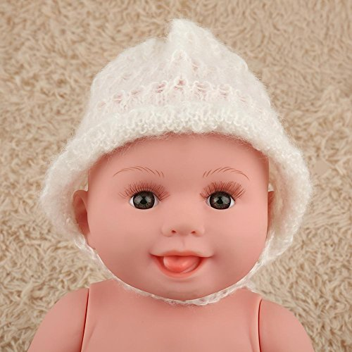 Fashion Cute Newborn Boy Girl Photography Props Outfits Mohair Knit Hat Infant Hand Knitting Hat Photo Photography Prop Costume(White)