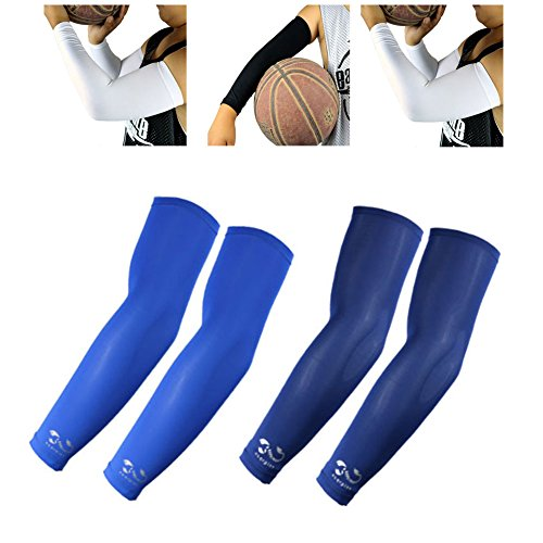 2 Pairs, Kids Youth Size Sports Moisture Wicking Compression Arm Sleeves, Blue, Navy by Scorpion