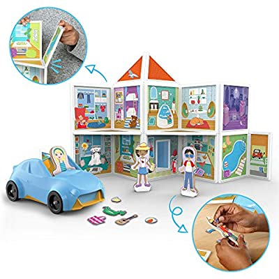 Melissa & Doug Magnetivity Magnetic Building Play Set – Our House with Vehicle (100Piece): Toys & Games
