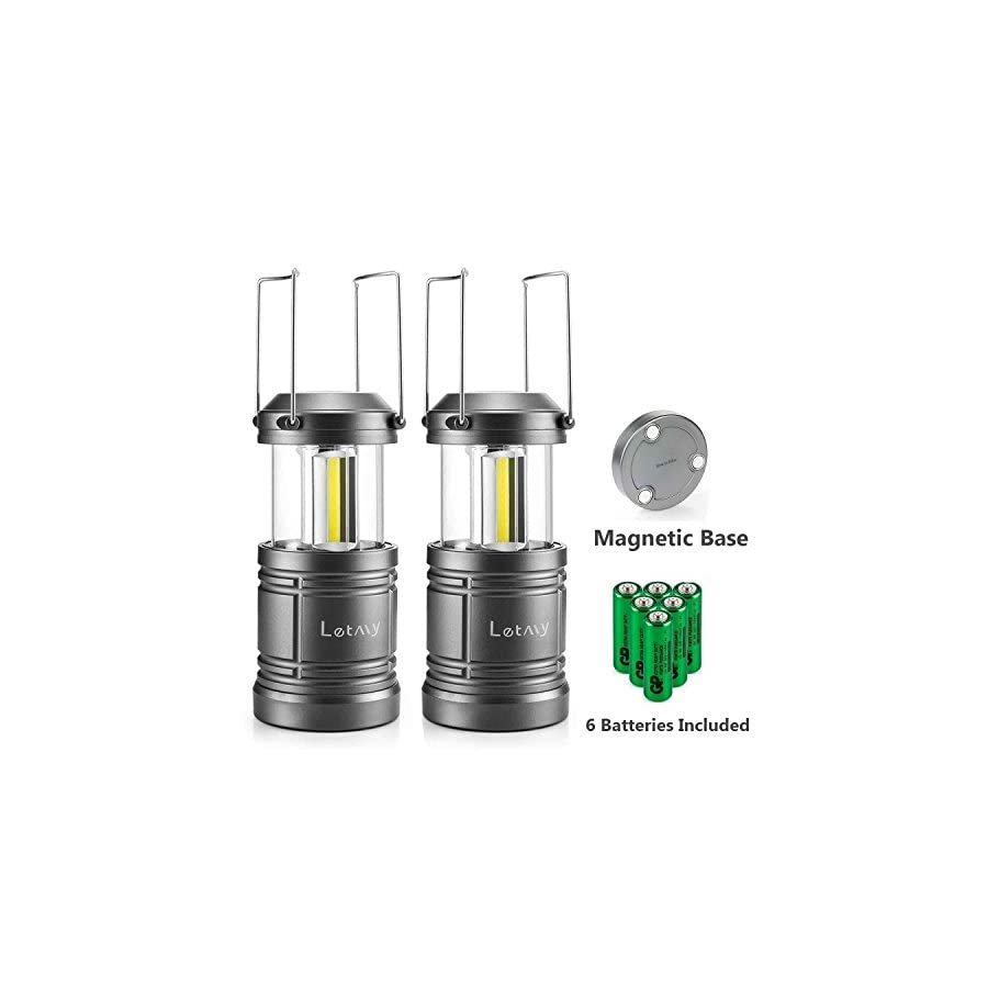 2 Pack Camping Lantern with 6 AA Batteries Magnetic Base NEW COB LED Technology Emits 500 Lumens Collapsible, Waterproof, Shockproof LED Lantern with Detachable Handles by Letmy