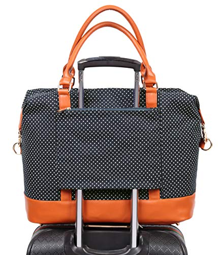 Womens Travel Weekend Bag Canvas Overnight Carry on Shoulder Duffel Beach Tote Bag (Black polka dot)