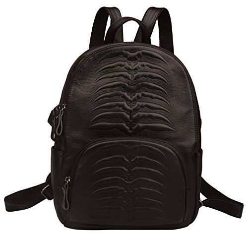 Fiswiss Women's Genuine Leather Backpack Handbags And Purse (Black) by Fiswiss