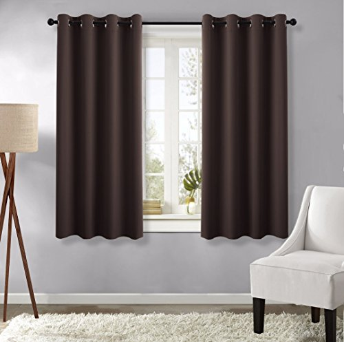 Solid Grommet Window Curtain Foam Lined Coffee - 4