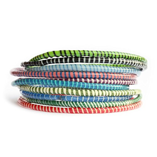 SayitBands 10 Recycled Flip Flop Bracelets Assorted Colors Hand Made in Mali, West Africa